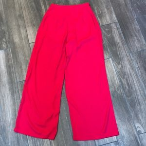 Red Flared Wide-Leg Pant